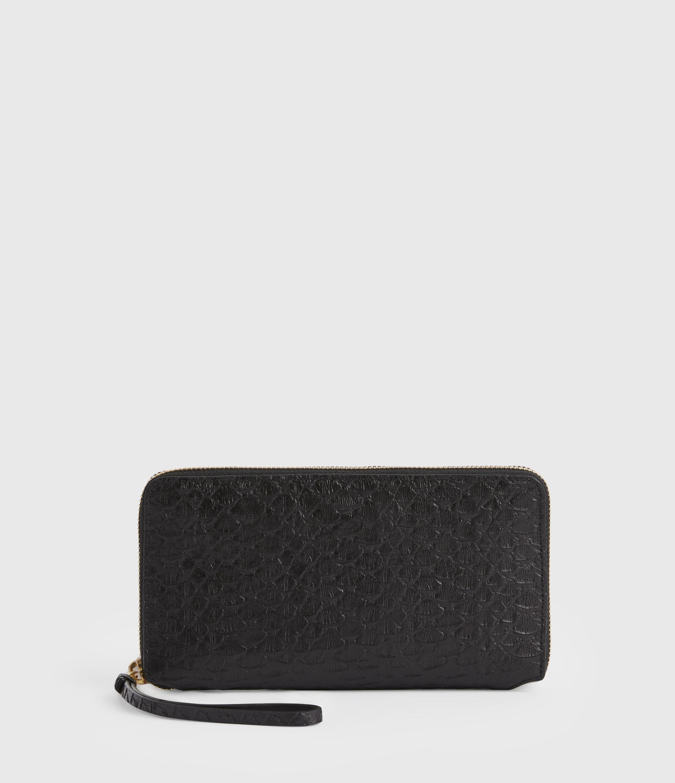 AllSaints Women's Fetch Leather Phone Wristlet, Black Python, Black