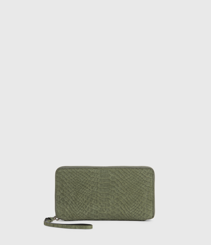 AllSaints Women's Fetch Leather Phone Wristlet, Sage Green