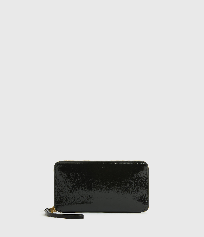 AllSaints Women's Fetch Leather Phone Wristlet, Squid INK Blue