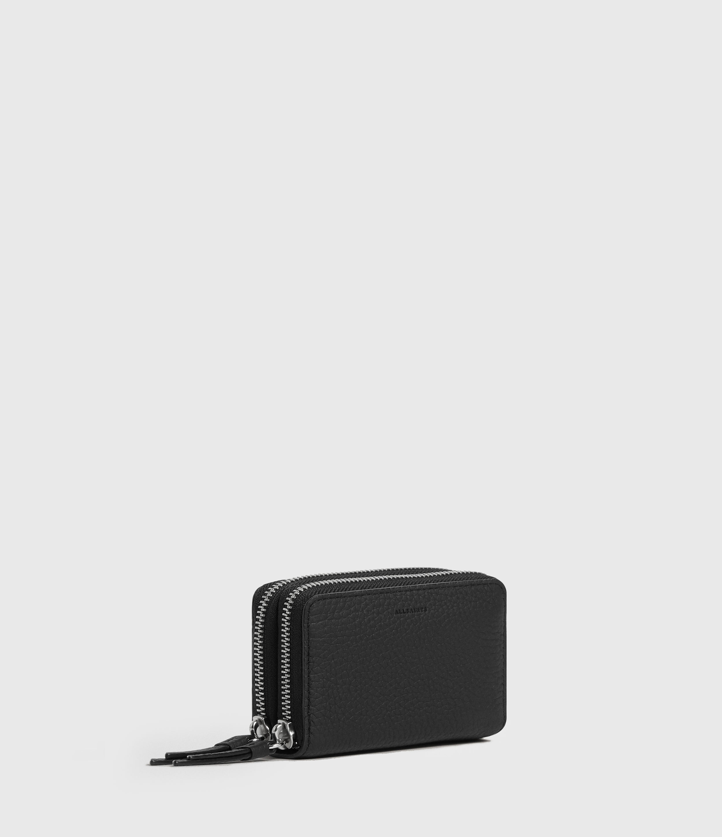 AllSaints Women's Soft Leather Grab-and-Go Fetch Two Pocket Cardholder, Black