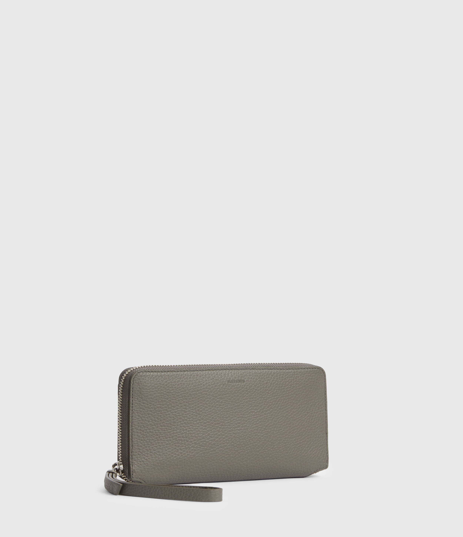 AllSaints Women's Fetch Leather Phone Wristlet, Storm Grey