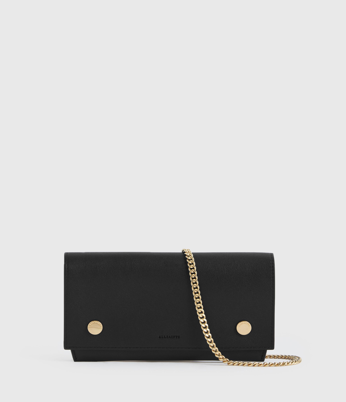 AllSaints Women's Leather Albert Wallet, Black