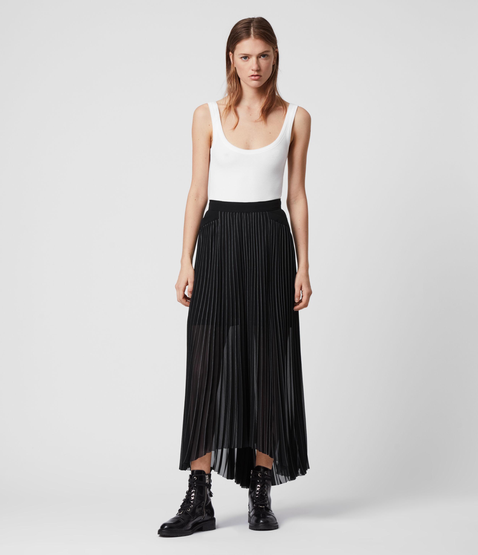 AllSaints Womens Cora Pleat Skirt, Black, Size: 14