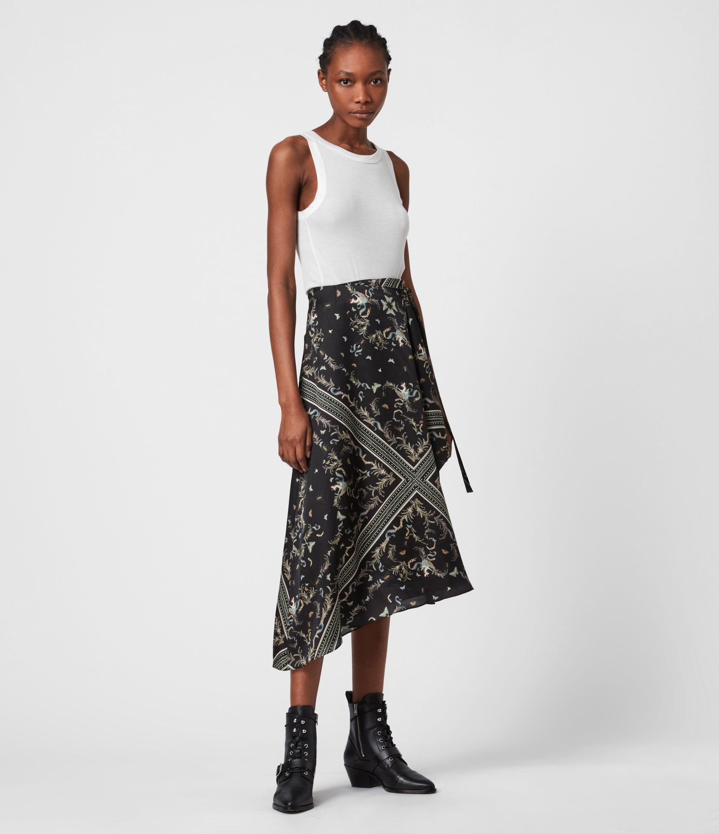 AllSaints Maia Assam Silk Blend Skirt