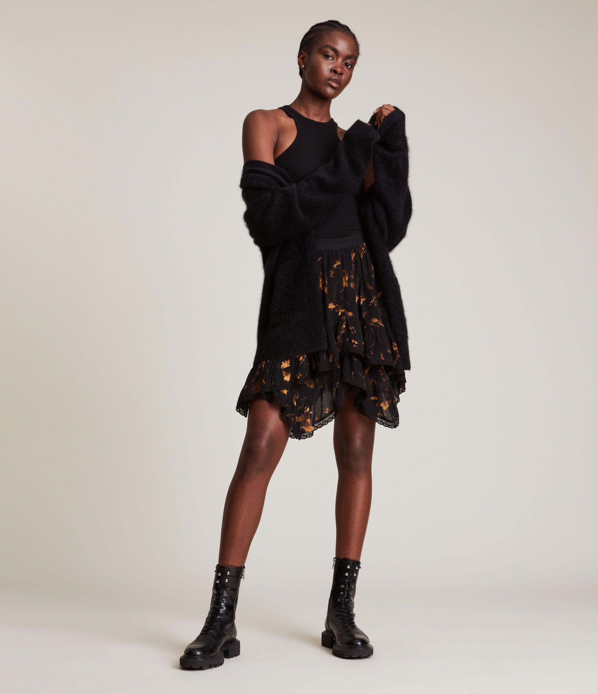 AllSaints Women's Nico Heligan Skirt, Black Gold, Size: 12