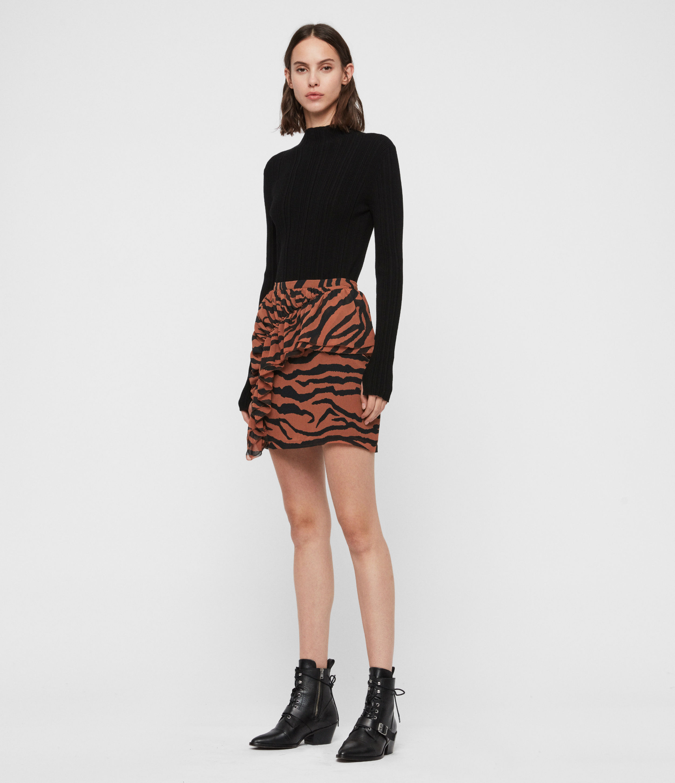 AllSaints Women's Animal Print Slim Fit Pia Zephyr Skirt, Brown and Black, Size: 12