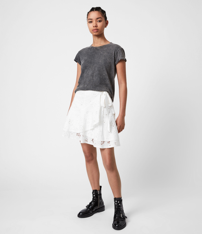 AllSaints Womens Kasa Broderie Skirt, Chalk White, Size: 14