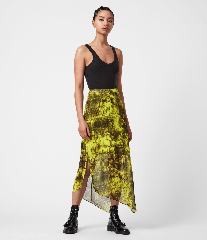 AllSaints Womens Rhea Mirus Skirt, Lime Green, Size: 6
