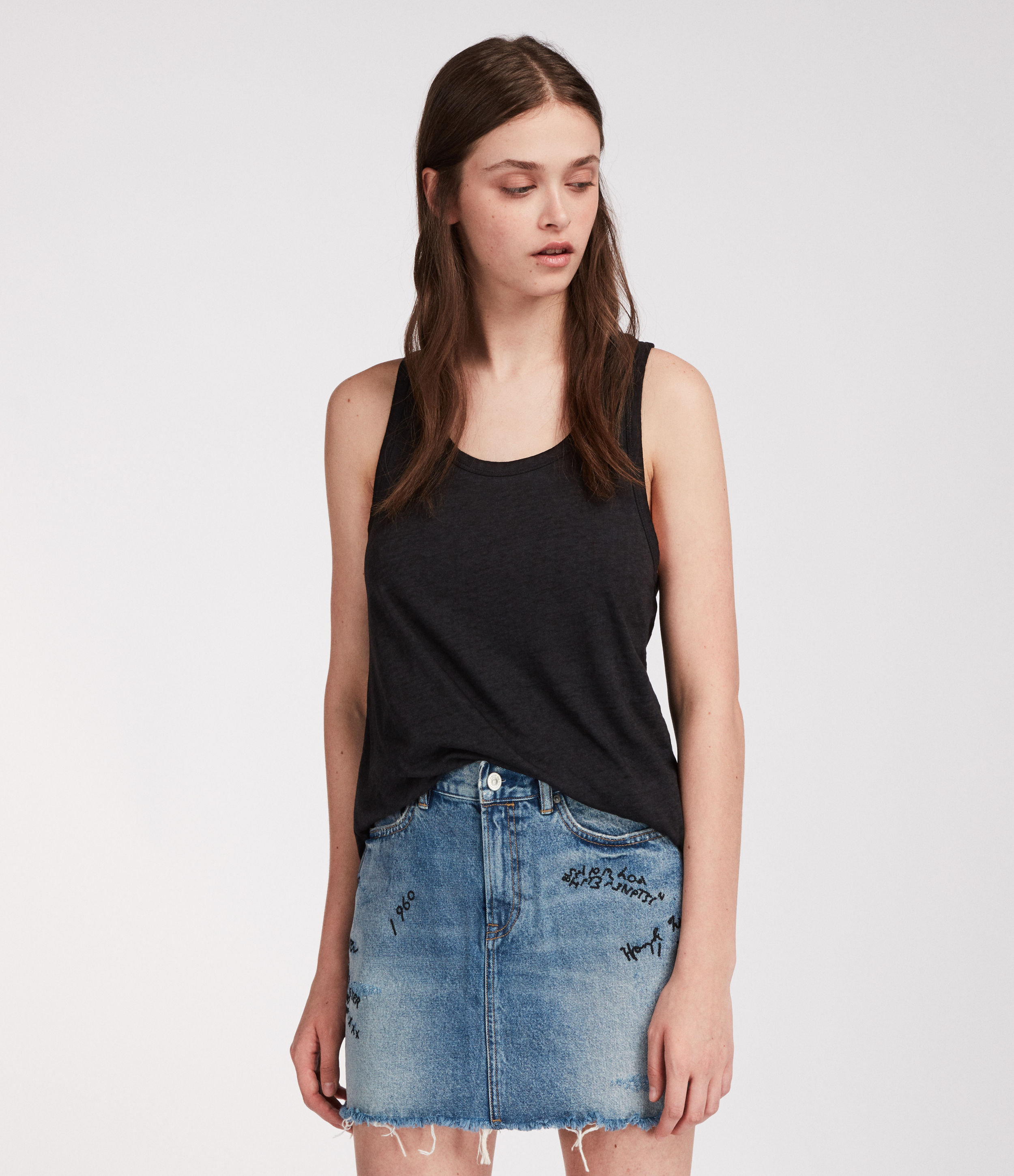 AllSaints Graff Denim Skirt