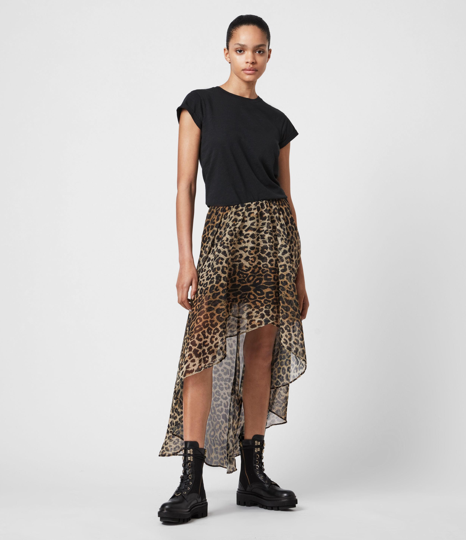 AllSaints Womens Slivina Leppo Skirt, Leopard Yellow, Size: 12