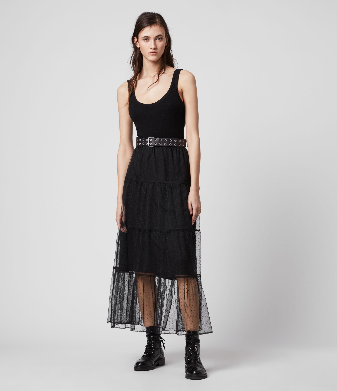 AllSaints Womens Lali Maxi Skirt, Black, Size: 6