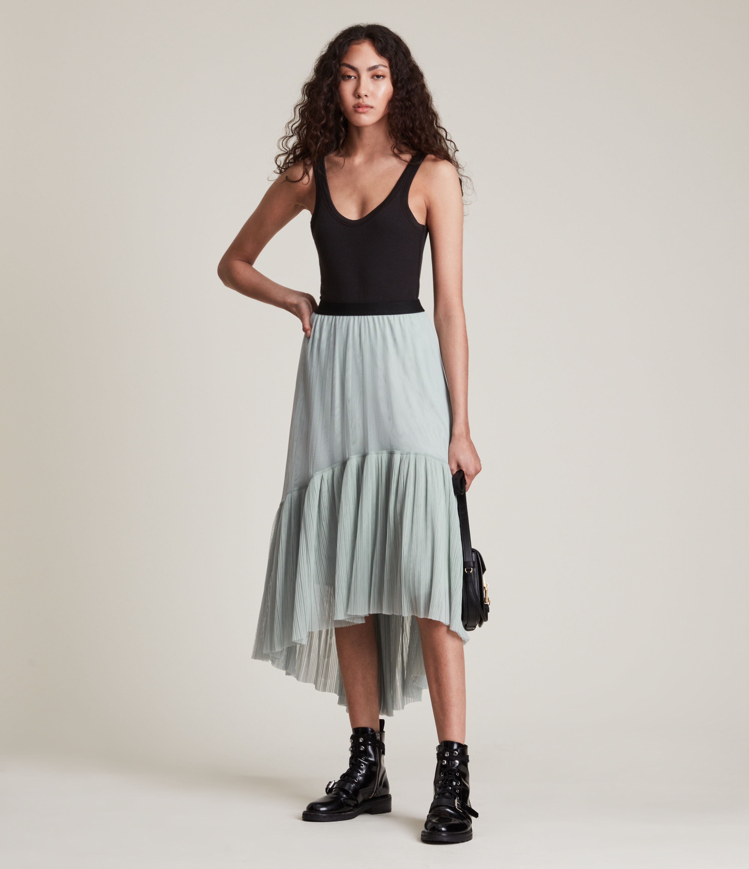 AllSaints Women's Aubrey Skirt, Blue, Size: 6