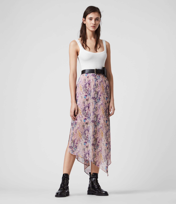 AllSaints Womens Rhea Masala Skirt, Pink, Size: 14