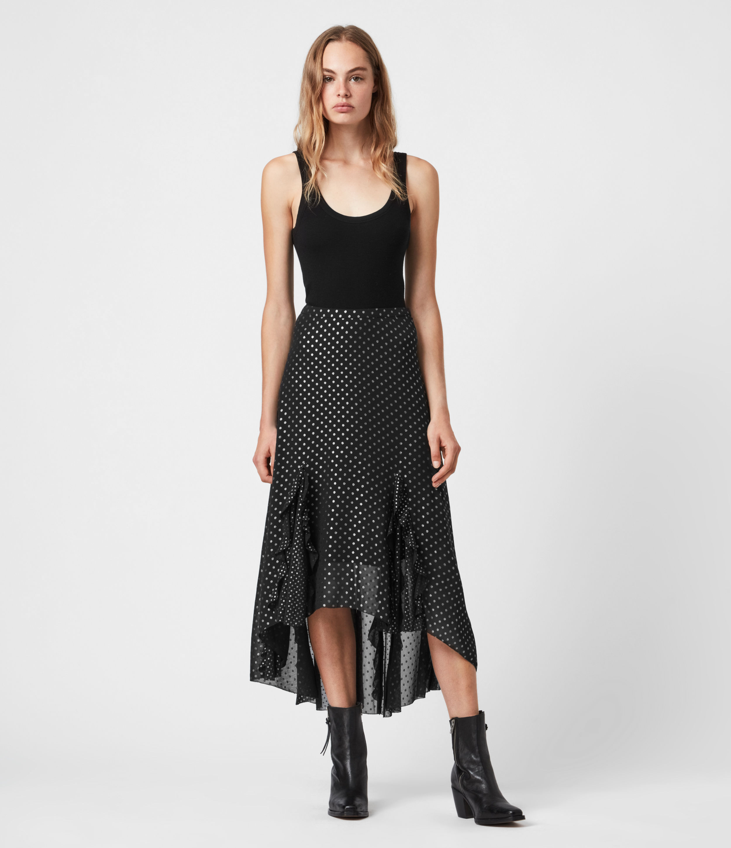 AllSaints Ilia Dot Skirt