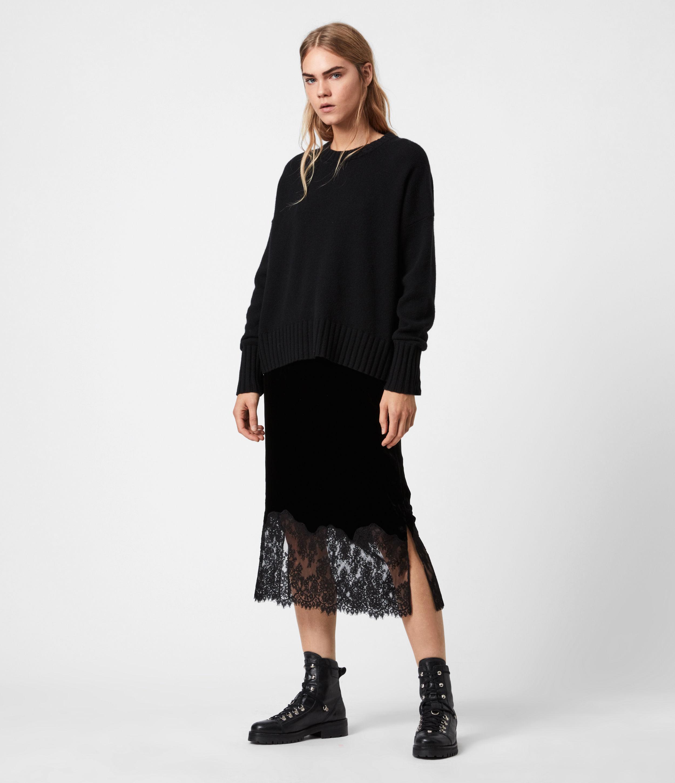 AllSaints Bridgette Silk Blend Velvet Skirt
