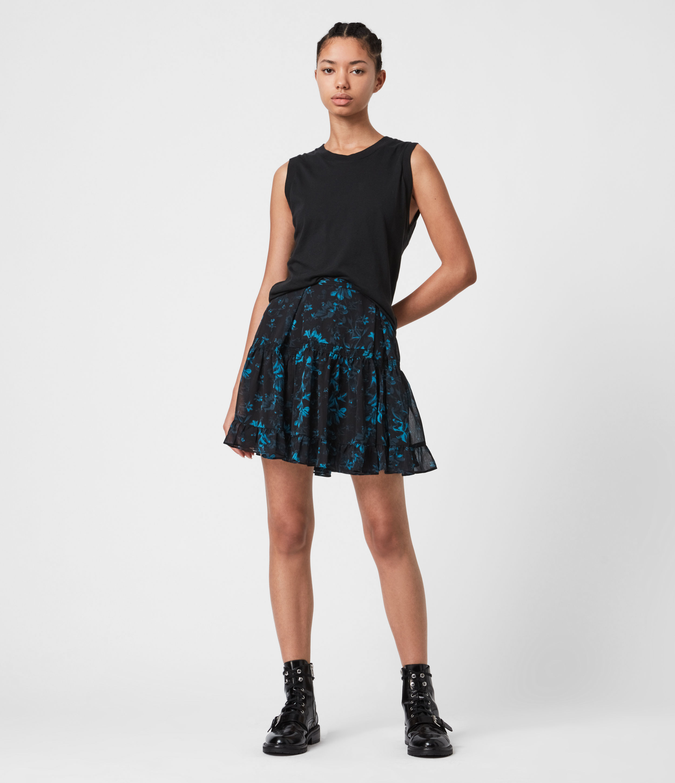 AllSaints Womens Vara Cultivar Skirt, Teal Blue, Size: 10