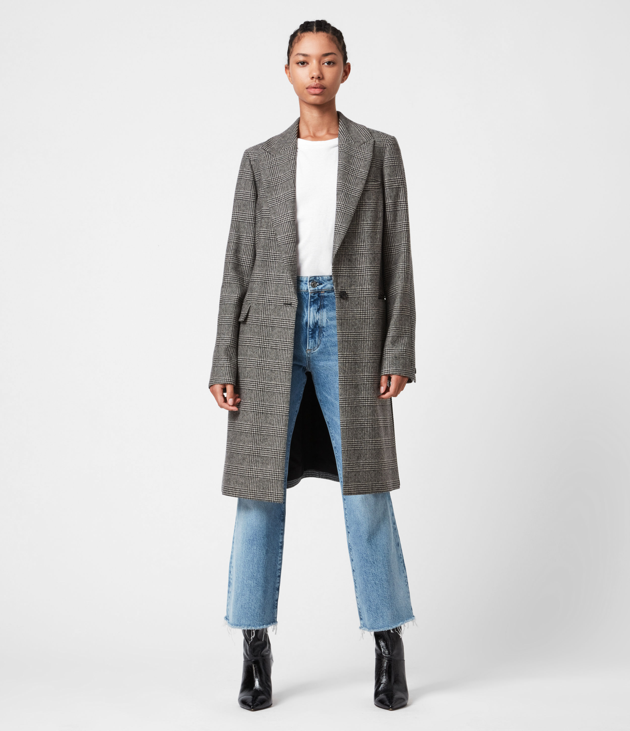 AllSaints Tamia Wool Blend Check Duster