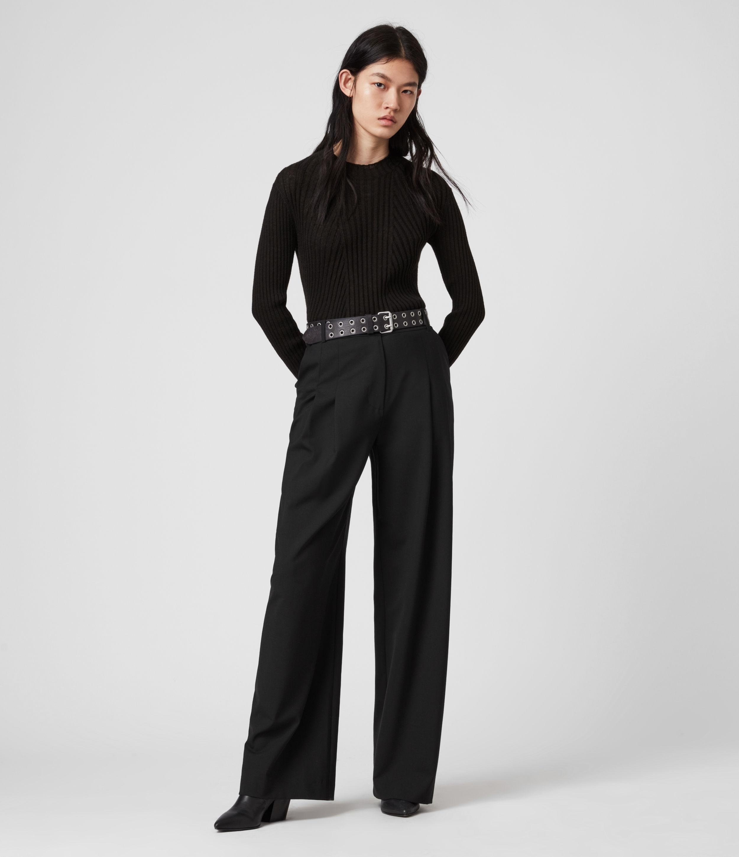 AllSaints Womens Tave Mid-Rise Wide Trousers, Black, Size: 6