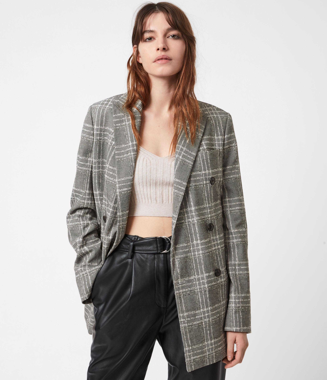 AllSaints Womens Astrid Check Blazer, Black/White, Size: 6