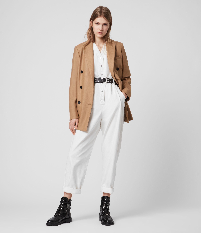 AllSaints Women's Wool Versatile Astrid Cashmere Blend Blazer, Brown, Size: 12