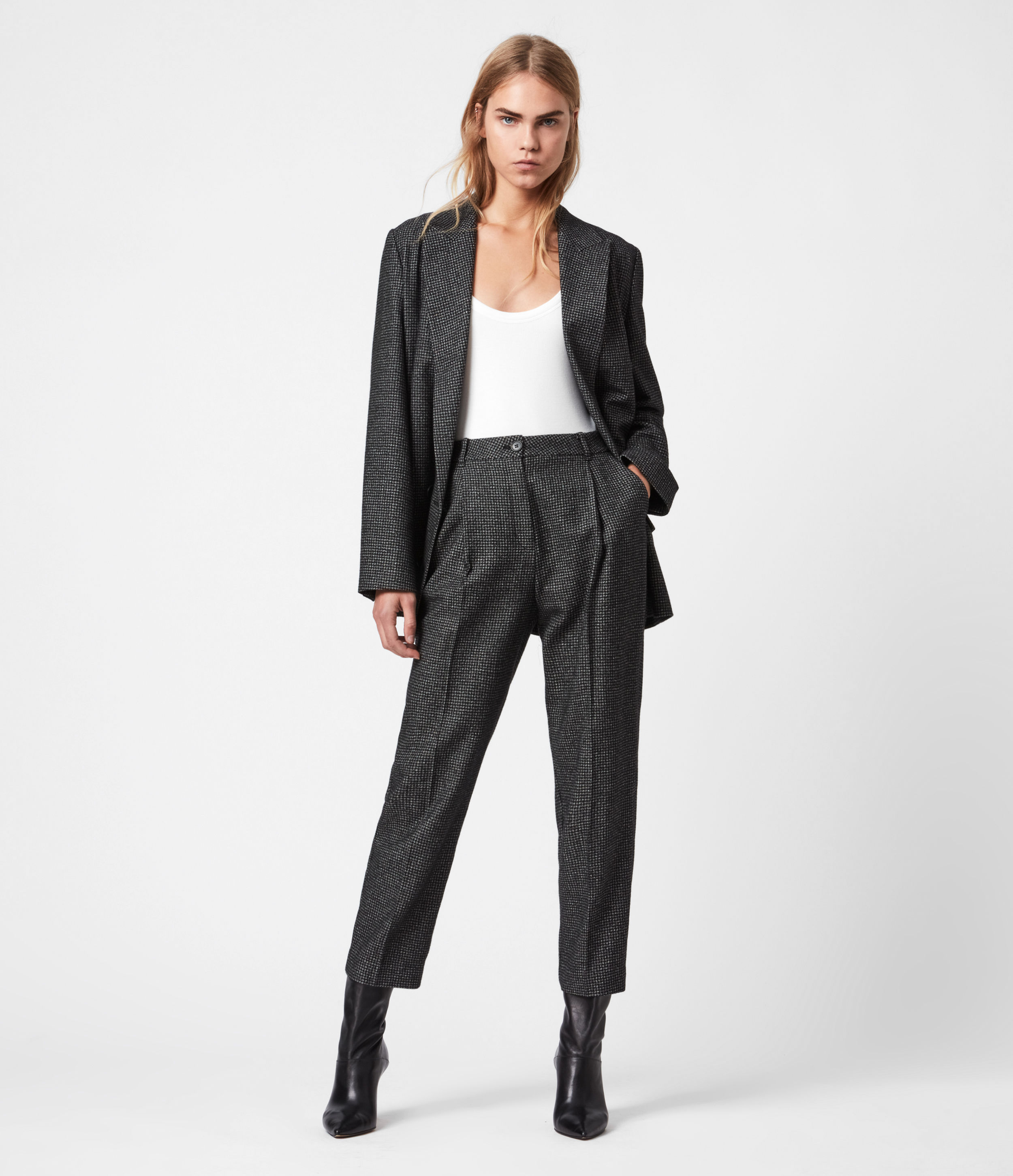 AllSaints Mara Puppytooth High-Rise Straight Trousers