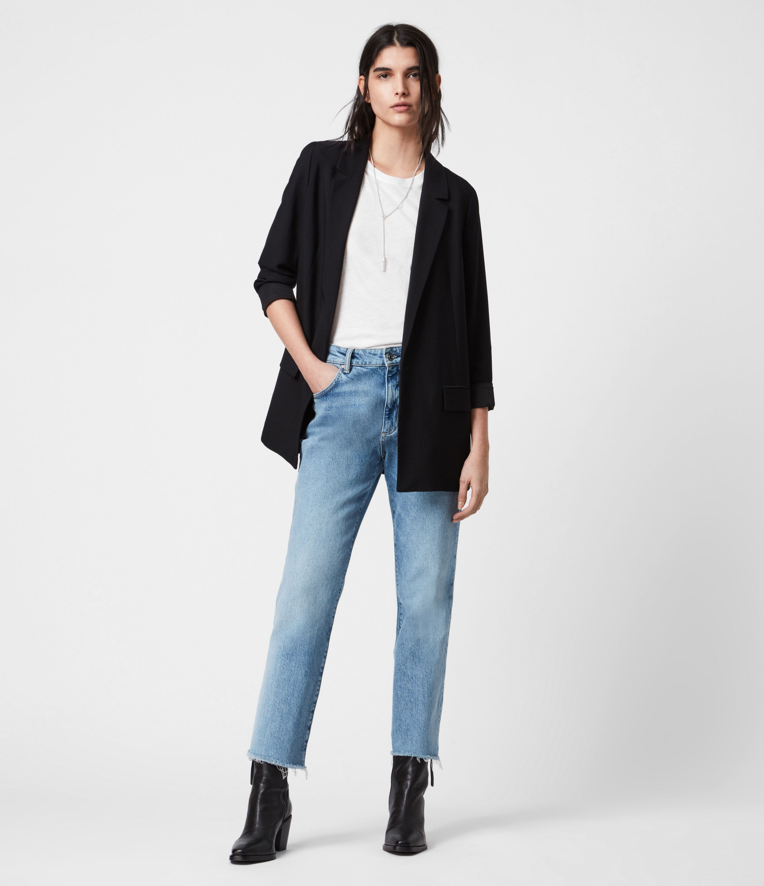 AllSaints Women's Regular Fit Traditional Two Flap Pocket Tailored Aleida Blazer, Black, Size: 10