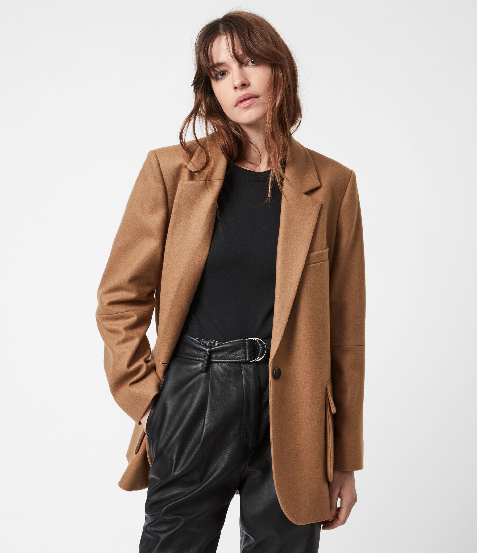 AllSaints Women's Jesse Wool Blend Blazer, Camel Brown, Size: 14