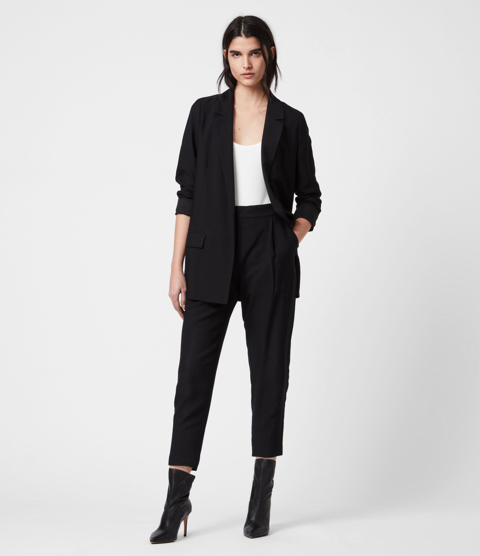 AllSaints Women's Regular Fit Aleida Tapered Leg Low-Rise Trousers, Black, Size: 2
