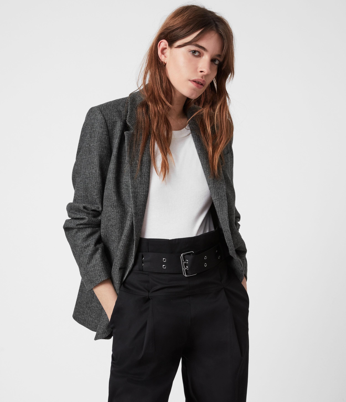 AllSaints Women's Maryn Wool Blend Blazer, Black/Charcoal, Size: 4