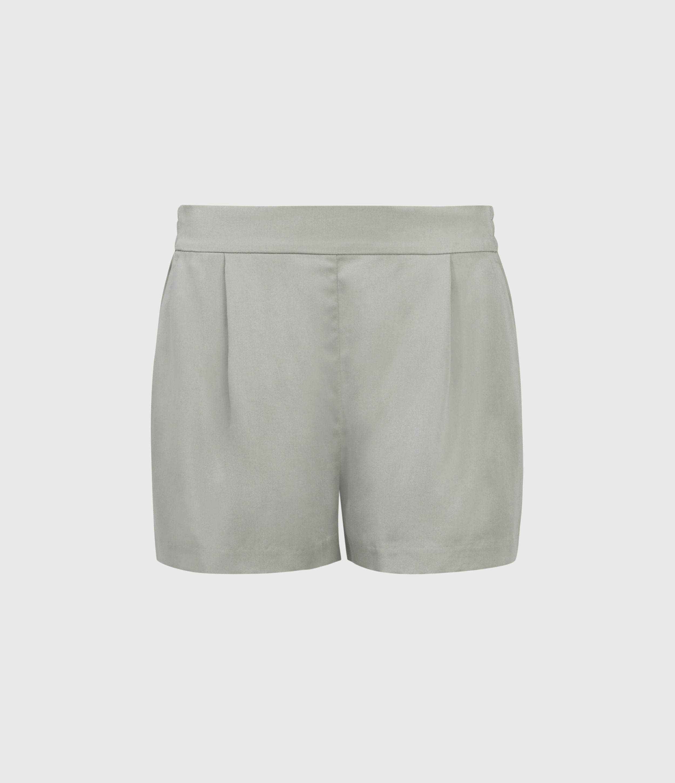 AllSaints Women's Regular Fit Alva Low-Rise Shorts, Green, Size: 14