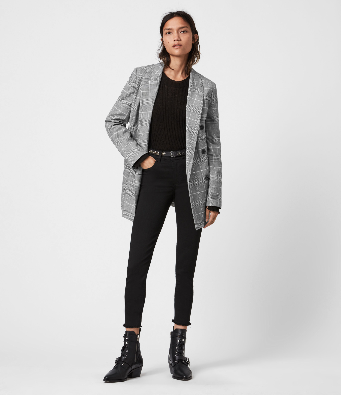AllSaints Womens Astrid Check Blazer, Black/White, Size: 8