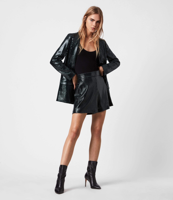 AllSaints Women's Glitter Regular Fit Sequin Leanna High-Rise Shorts, Blue, Size: 12