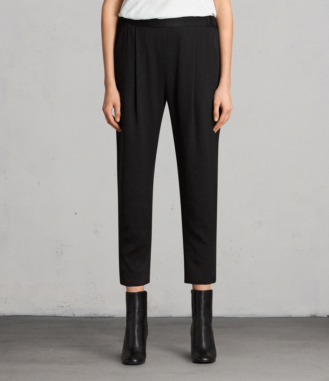 AllSaints Womens Aleida Trousers, Black, Size: 2