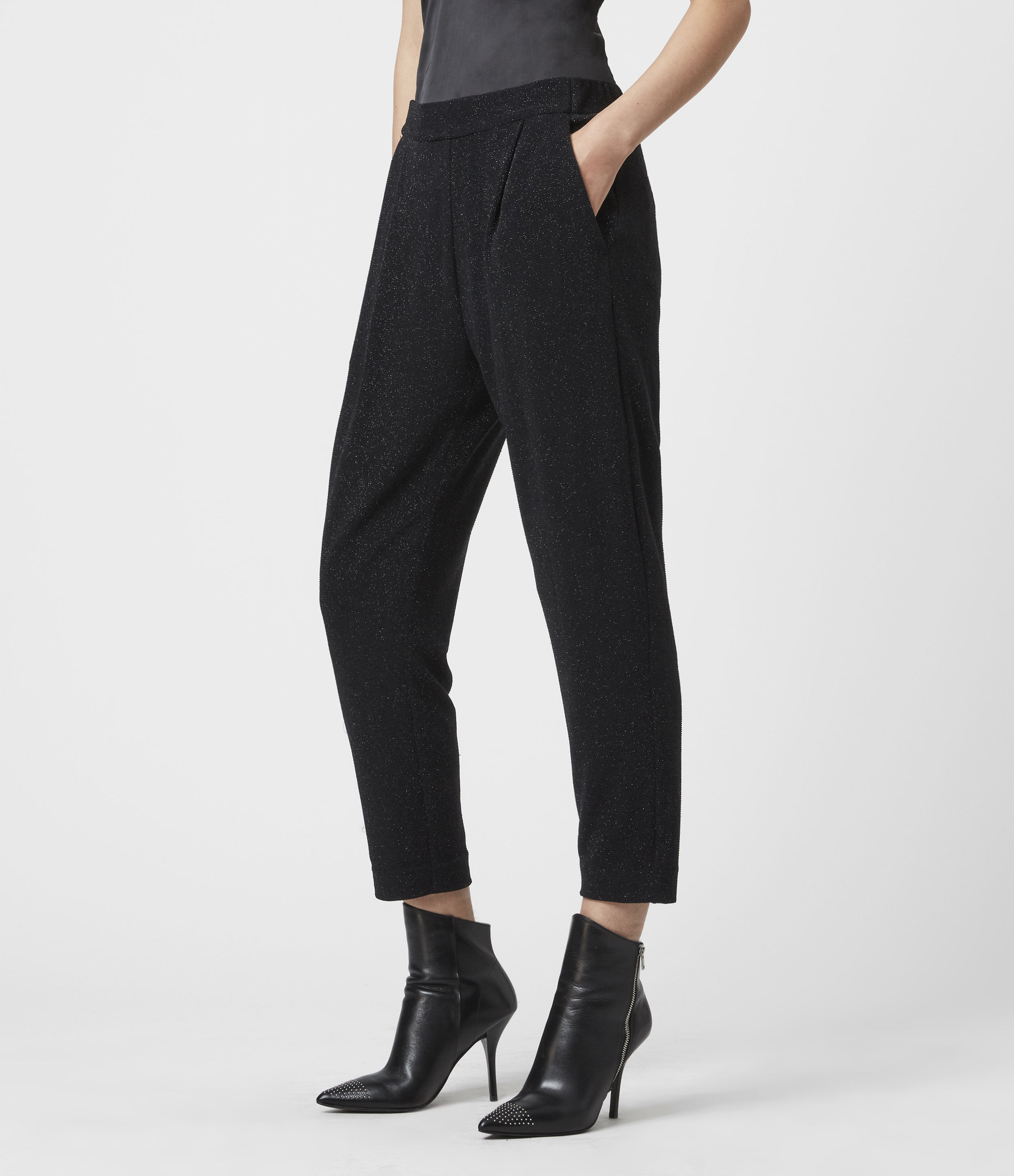 AllSaints Aleida Tapered Low-Rise Shimmer Trousers