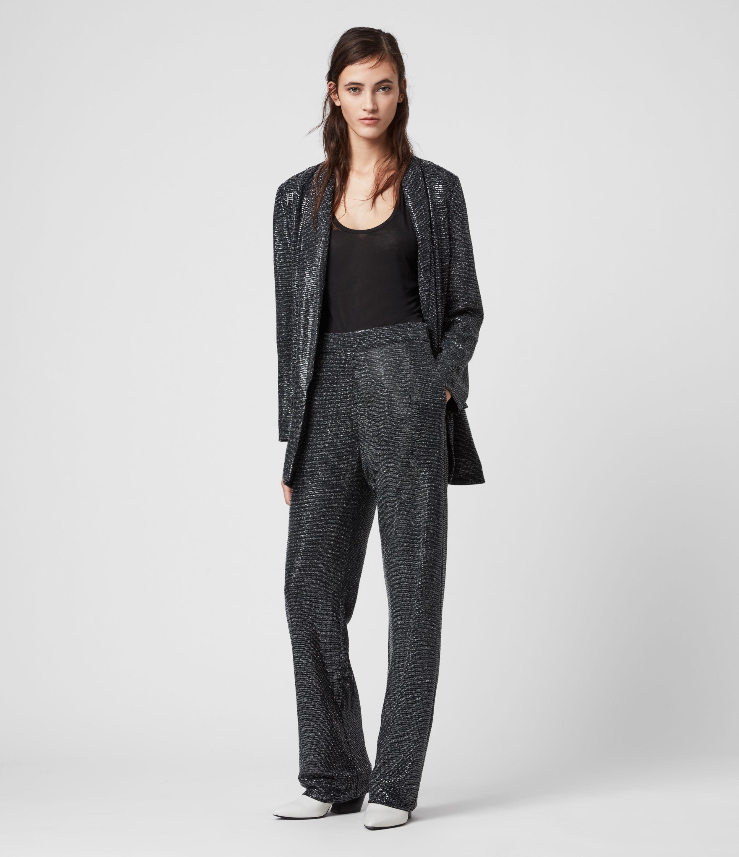AllSaints Women's Regular Fit Leanna Trousers, Grey, Size: 6