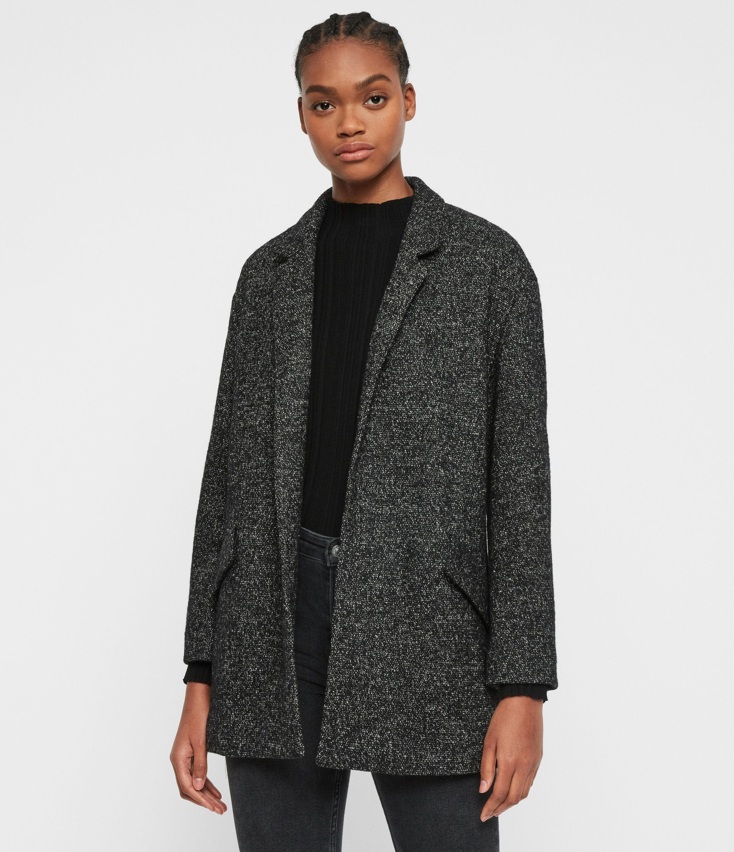 AllSaints Womens Eloise Blazer, Black and White, Size: 12