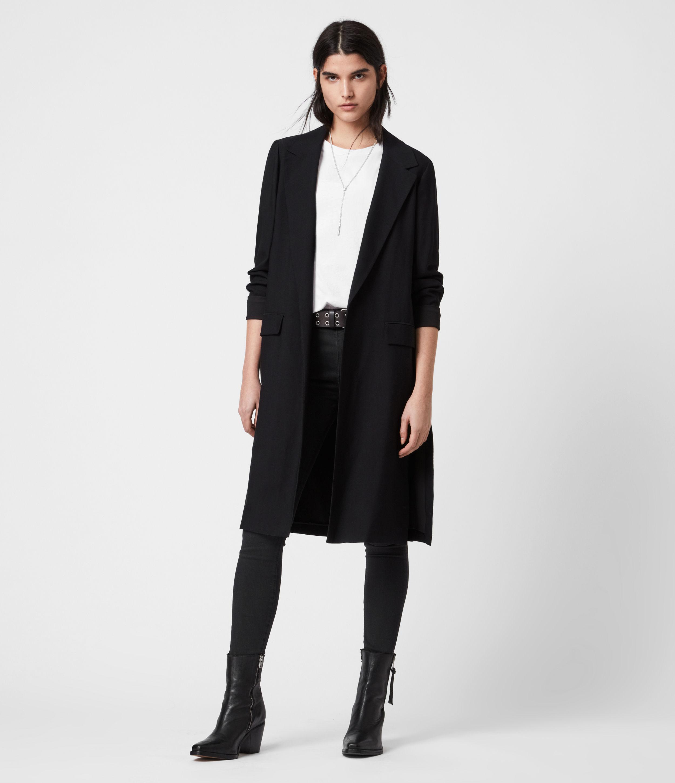AllSaints Womens Aleida Tri Duster Blazer, Black, Size: 8