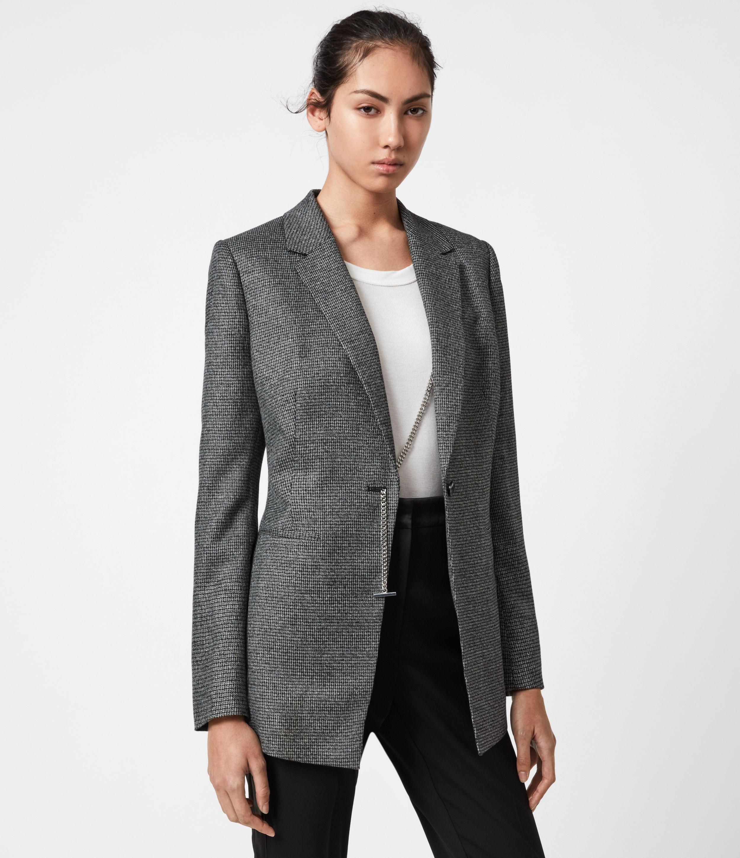 AllSaints Womens Sansa Check Blazer, Silver/Black, Size: 12