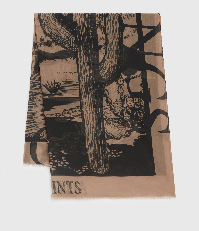 AllSaints Women's Cacti Silk Blend Large Scarf, Black
