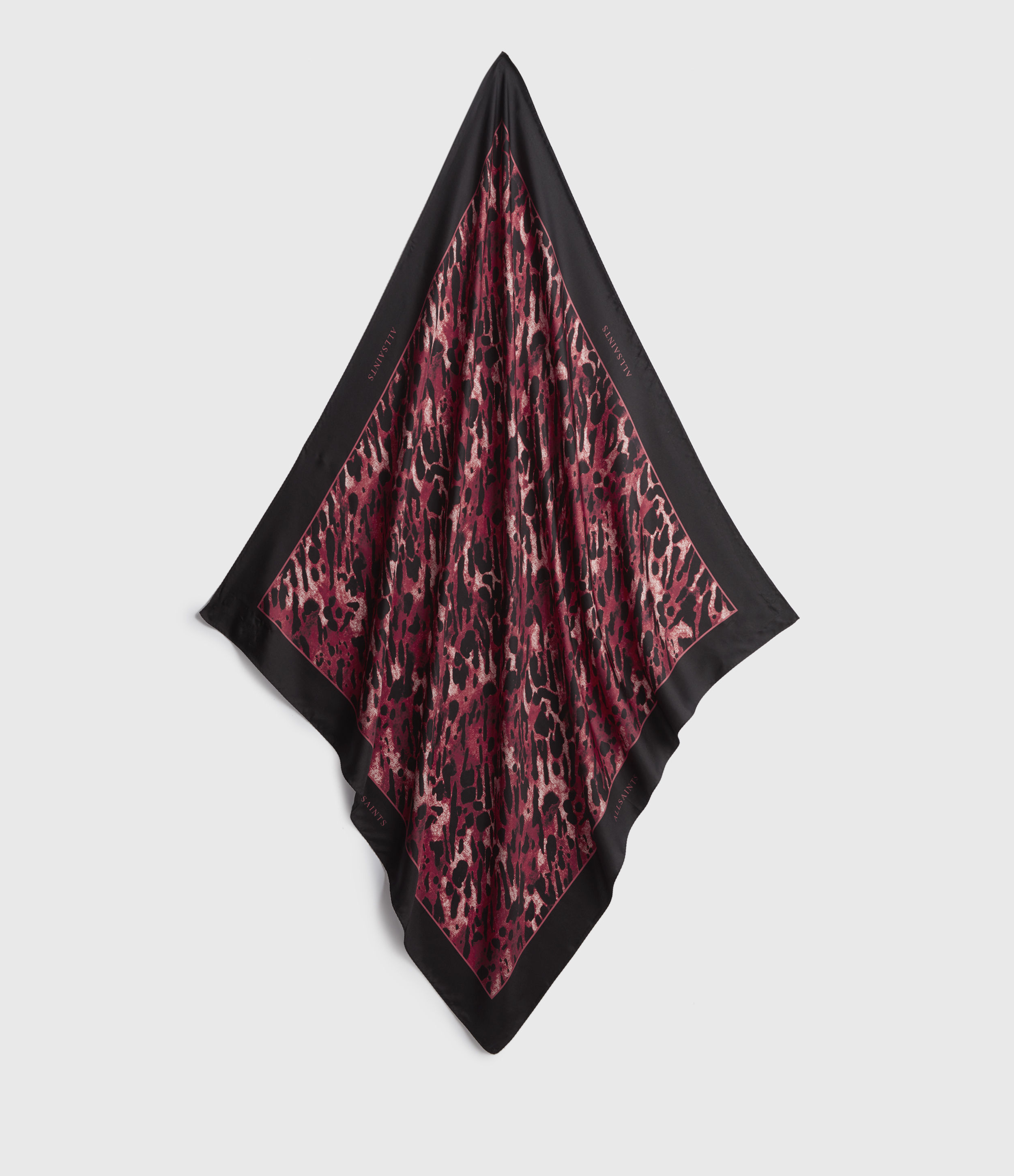 AllSaints Women's Silk Leopard Print Ambient Square Scarf, Red and Black