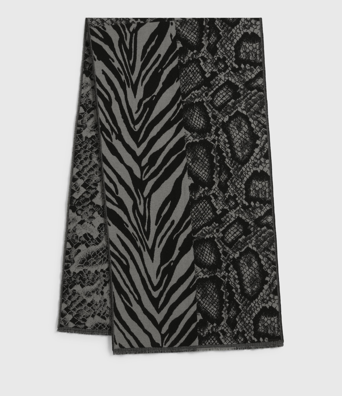 AllSaints Women's Wool Blend Patchwork Print Oblong Scarf
