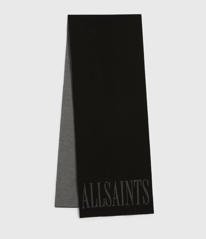 AllSaints Women's Merino Wool Aspen Scarf, Black and Grey
