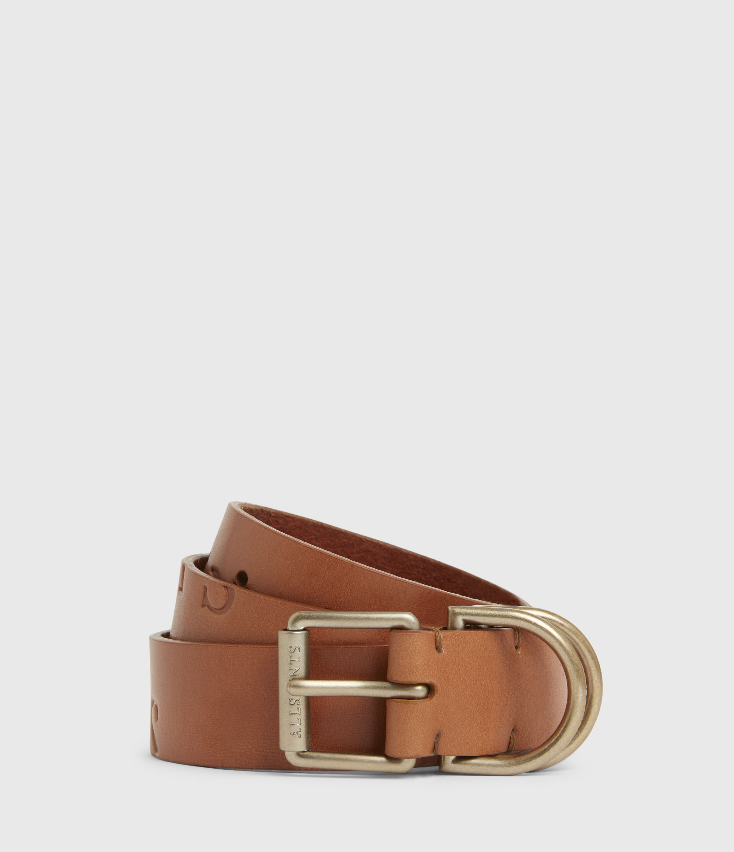 AllSaints Womens Victoria Leather Belt, Camel, Size: XS