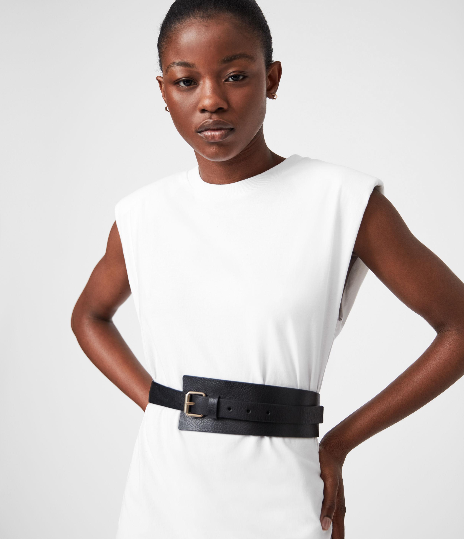 AllSaints Womens Avery Leather Belt, Black, Size: M