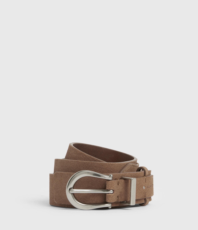 AllSaints Womens Evelyn Leather Belt, Camel, Size: XS