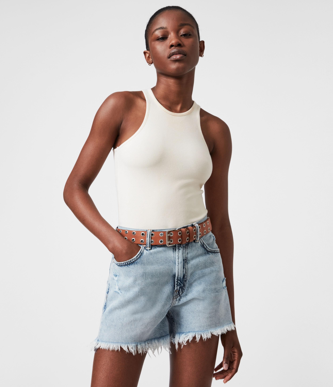AllSaints Womens Abigail Leather Belt, Camel, Size: S/M