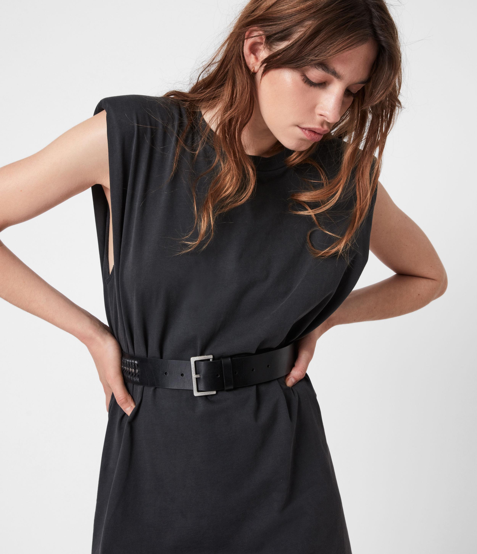 AllSaints Women's Cleo Leather Belt, Black, Size: M