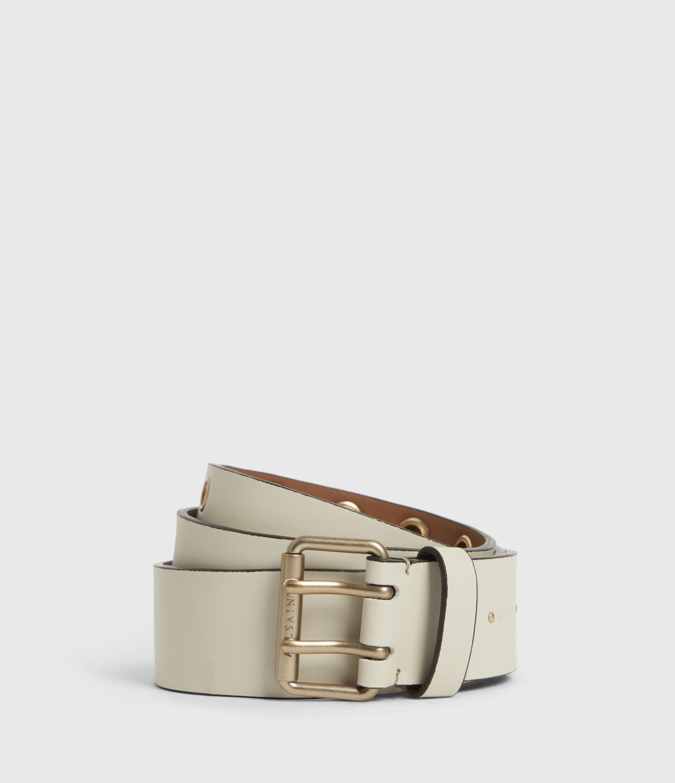 AllSaints Women's Leather Amelia Belt, White, Size: M