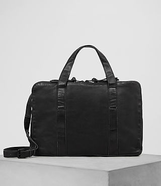 Mens Meguro Leather Work Bag (Washed Black)