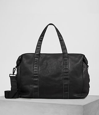 Mens Meguro Leather Holdall (Washed Black)